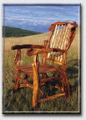 SPIRIT of the WEST, Log Furniture - Juniper Captain's Chair - Beautiful Rustic Log Furniture